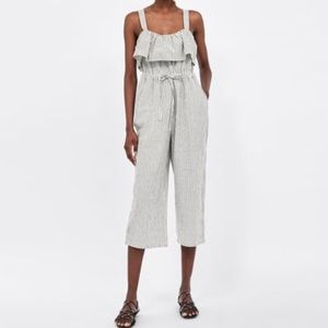 NWOT Zara Striped Jumpsuit with Ruffles